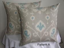Beige & Cream Aqua Ikat Design Decorator Pair (2) Cushion Covers 55cm  Au Made