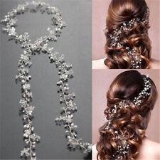 Women Pearl Wedding Hair Vine Crystal Bridal Accessories Diamante Headbands GUT
