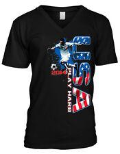 United States Play Hard USA Soccer Ball Player Football Mens V-neck T-shirt