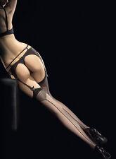 Bas noirs pour porte-jarretelles couture pointillés jarretière traits Tempesta