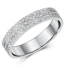 4.5mm 9ct ORO BIANCO ANELLO DIAMANTE 3 file 30 BRILLANTINO diamanti