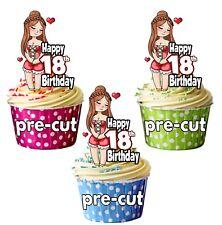 Pre-Cut Sexy Linda Dama Mujer 12 Taza Cake Toppers Decoración De Cumpleaños Cualquier Edad