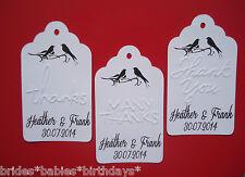 10 Kraft White Gift Swing Tags Wedding Favour Bomboniere EMBOSSED Personalised h