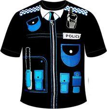 Fancy Dress Men Black POLICE Printed T-Shirt XX-large
