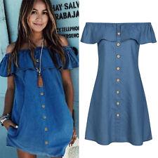 Women's Off Shoulder Denim Mini Dress Summer Beach Sundress Loose Blue Tunic