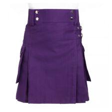 Ladies Purple Utility Scottish Kilt Skirt Cotton BNWT Free Ladies Kilt Pin