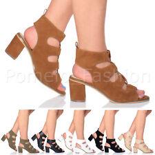 WOMENS LADIES MID HEEL LACE UP PEEP TOE SUMMER EVENING GLADIATOR SANDALS SIZE
