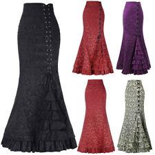 Womens Punk Style Retro Mermaid Skirt Vintage Long Bodycon Ruffle Fishtail Skirt