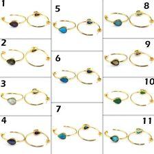 Onyx Turquoise Amethyst Labradorite Gold Plated 35mm Hoop Bali Earring Jewelry