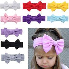 UK Girl Kids Baby Cotton Bow Hairband Headband Stretch Turban Knot Head Wrap Bow