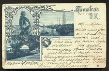 Sumatra Art Nouveau Belawan Medan Indonesia 2 stamps 1899
