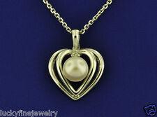 0.02 ct JAPANESE CULTURED  PEARL &  DIAMOND  HEART PENDANT  14K WHITE GOLD