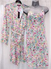 Floral Chemise Nightie Nightwear Dressing Gown Wrap Set Chiffon 10/12 14/16