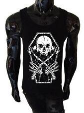 BARA Cranio Di Reaper Tank Top Da Uomo Goth Punk Rock Metal FALCE Vest