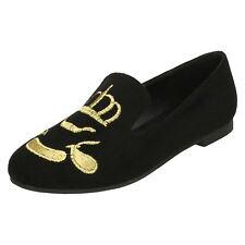 Ladies Spot On Flat Slipper Cut Ballerinas