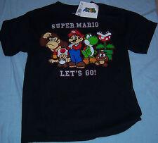 Nintendo Super Mario Black 100% Cotton Children's Size L Tagless T-Shirt NWT $18
