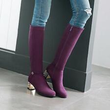 Plus size Womens Winter Metal Decor Block Mid Heels Knee High Knight Boots Pumps
