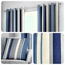 Fusion WHITWORTH STRIPE Blue 100% Cotton Ready Made Eyelet Curtains & Cushions