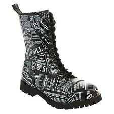 Boots & Braces - 10 Loch Newspaper Stiefel Rangers Schwarz Weiß Zeitungs Print S