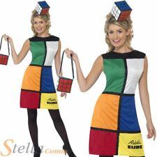 Rubiks Cube Costume 80s Ladies Fancy Dress Retro Outfit + Hat Size 8-18