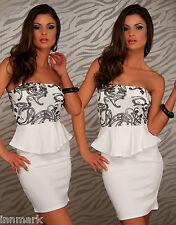 406 Gorgeous Party Cocktail Party Peplum Strapless Bodycon White/Black Dress