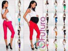3/4 de longitud de maternidad Leggings Pantalones Con Bolsillos Cintura Alta, Tallas 8 - 22 lckp