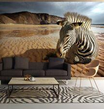 254x183cm groß Fototapete Wandtapete für Wohnzimmer Zebra auf der Wüste