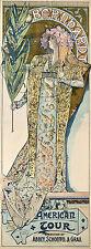REPRO AFFICHE MUCHA AMERICAN TOUR SARAH BERNHARDT 1896  PAPIER SATINE 190 GRS