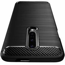 Coque Etui pour OnePlus 7 Pro Housse Silicone brossée Fibre de carbone [Noir]
