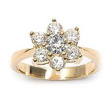 Dolly-Bijoux Bague Joaillerie Fleur 10mm de Diamant Cz Plaqué Or 18K 5 Microns