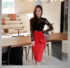 élégant refinada Traje conjunto de mujer rojo negro suéter falda de tubo 4761
