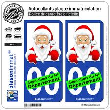 2 Stickers autocollant plaque immatriculation Auto : Père Noel  Cartoon