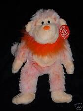 "Fiesta Plush Monkey Orange Cream New 12"" Very Soft Stuffed Animal with collar"