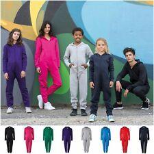 Kids Childrens All In One Hooded Romper Pyjamas Jumpsuit PJs Hoodie 3-13 Years