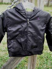 Hurley black Hooded Jacket Boys sz 4 Sherpa Fleece zipper front NEW $64