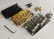 Hardtail Bridge: Strat Telecaster: vintage bent steel saddles: Chrome Black Gold