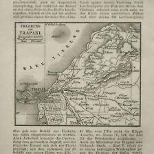 Antica Stampa Topografica.TRAPANI-Dintorni SICILIA.1902