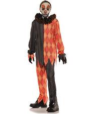 Evil Creepy Clown Boys Orange Black Scary Jester Halloween Costume