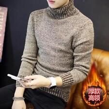 Korean Mens High Stand Collar Slim Thicken Warm Sweater Fashion Slim Fit Coat