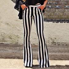 Women's Fashion Slim Stripe Flared Pant Mid Waist Fit Casual Pocket Long Pants
