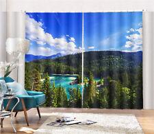 Caumasee Lake Mountain 3D Blockout Photo Printing Curtains Draps Fabric Window