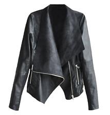 Women Biker Motorcycle Jacket Lady Lapel Leather Casual Coat Outwear