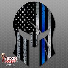 "Thin Blue Line ""SPARTAN"" Flag Sticker Police USA Vinyl Decal Lives Matters FS291"