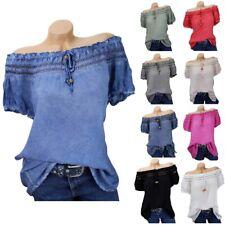 Damen CARMEN Bluse Tunika Hemd 36 38 40 42 Bluse Schulterfrei Shoulder Shirt Top