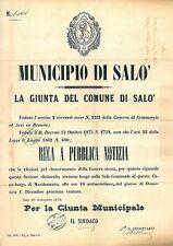 MANIFESTO ANTICO - Salò SALO 1878