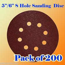 """200 Pcs 5""""/ 6"""" 8 Hole Sanding Disc Sand paper Hook & Loop 60 120 240 Grit Sander"""