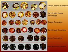 1x 3mm Orange, Brown and Golden Yellow, Tourmaline Round Loose Natural Gemstone