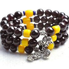Joli Bracelet à Breloque Elephant ou Pixiu en Perles de Grenat Bordeaux