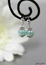 Glass Jewels Silber Ohrringe Ohrstecker Perlen Farbwahl Weiß Lila Hellblau #C085