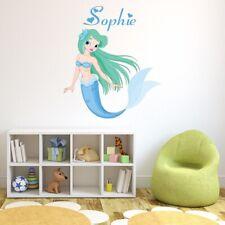 Nome personalizzato Sirena blu Adesivo Murale personalizzata  WS-50965